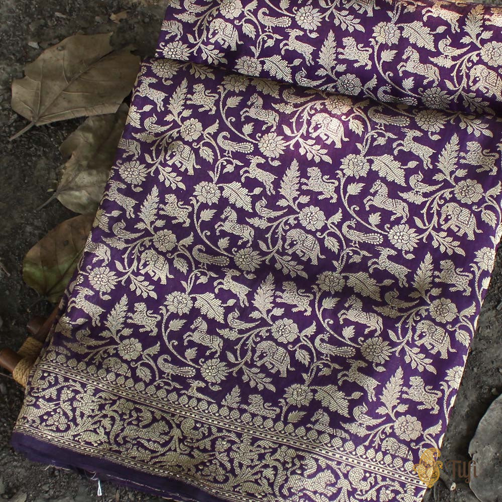 Black-Purplish Magenta Pure Katan Silk Banarasi Handloom Saree