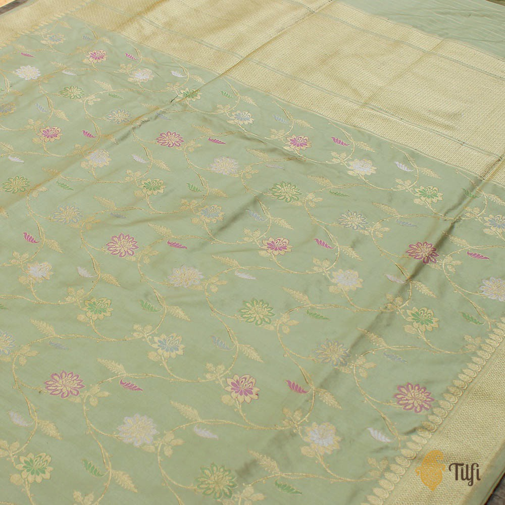 Light Sage Green Pure Katan Silk Banarasi Handloom Saree