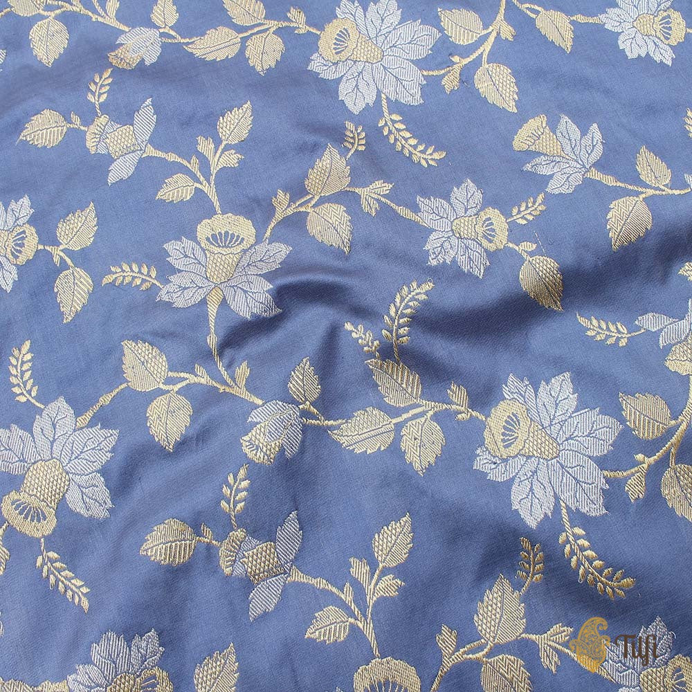 Dark Greyish-Blue Pure Katan Silk Banarasi Handloom Saree
