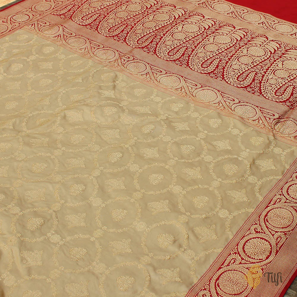 Beige-Red Pure Katan Silk Banarasi Handloom Saree