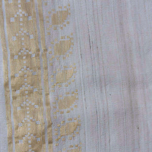 Off-White Pure Tussar Georgette Silk Banarasi Handloom Saree