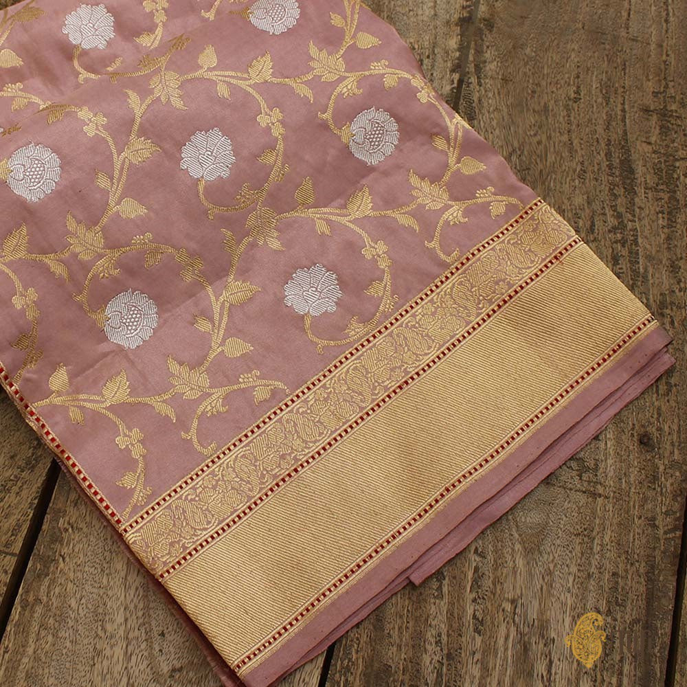 Old Rose Pink Pure Katan Silk Tissue Banarasi Handloom Saree