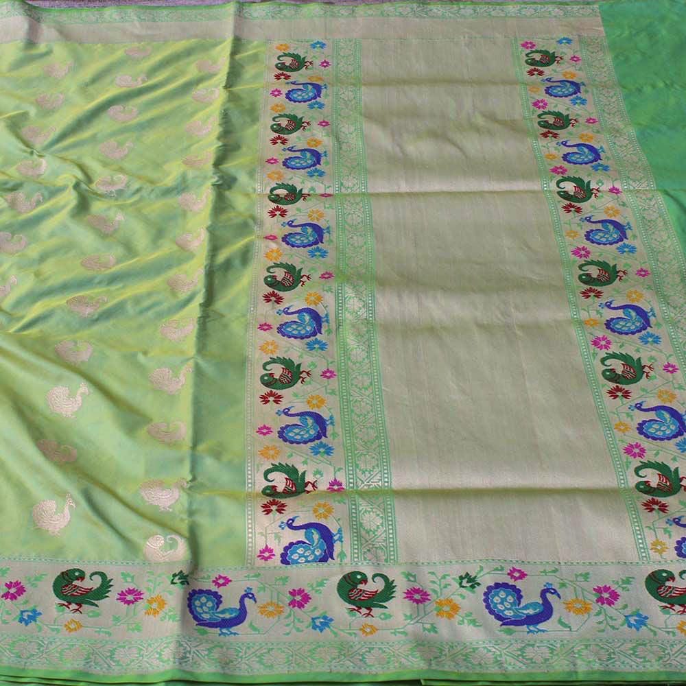 Lime Green Pure Katan Silk Banarasi Paithani Handloom Saree