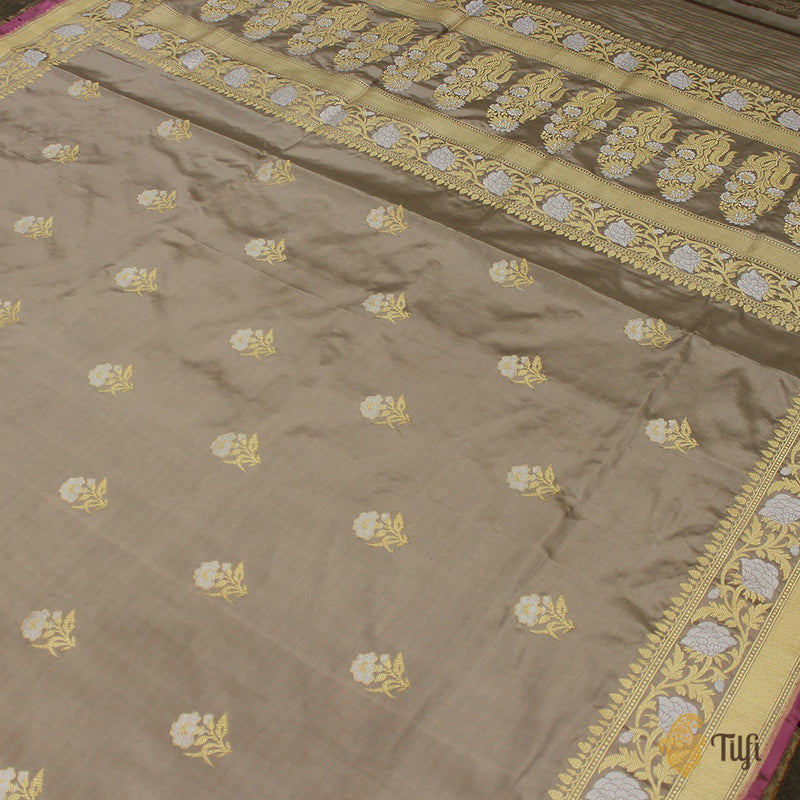 Gray Pure Katan Silk Banarasi Handloom Saree