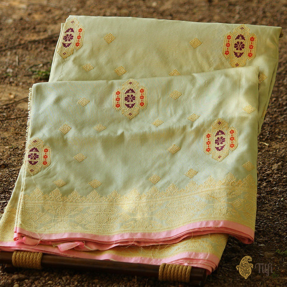 Light Green-Gray Pure Katan Silk Banarasi Handloom Saree