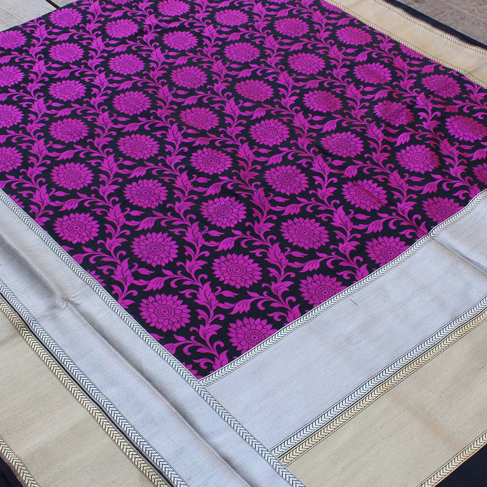 Black-Rani Pink Pure Silk Georgette Banarasi Handloom Saree