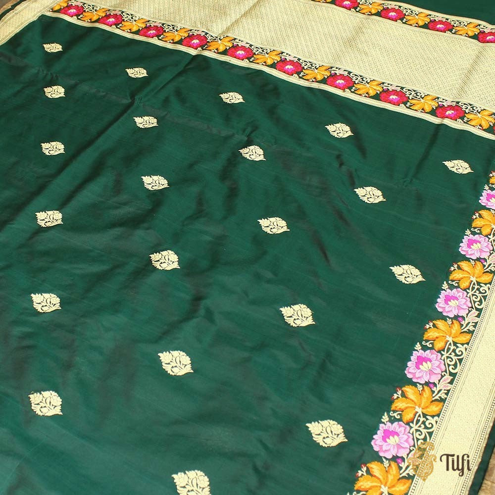 Dark Green Pure Katan Silk Banarasi Handloom Saree