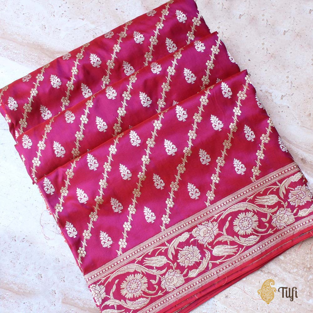 Red-Purple Pure Katan Silk Banarasi Handloom Saree