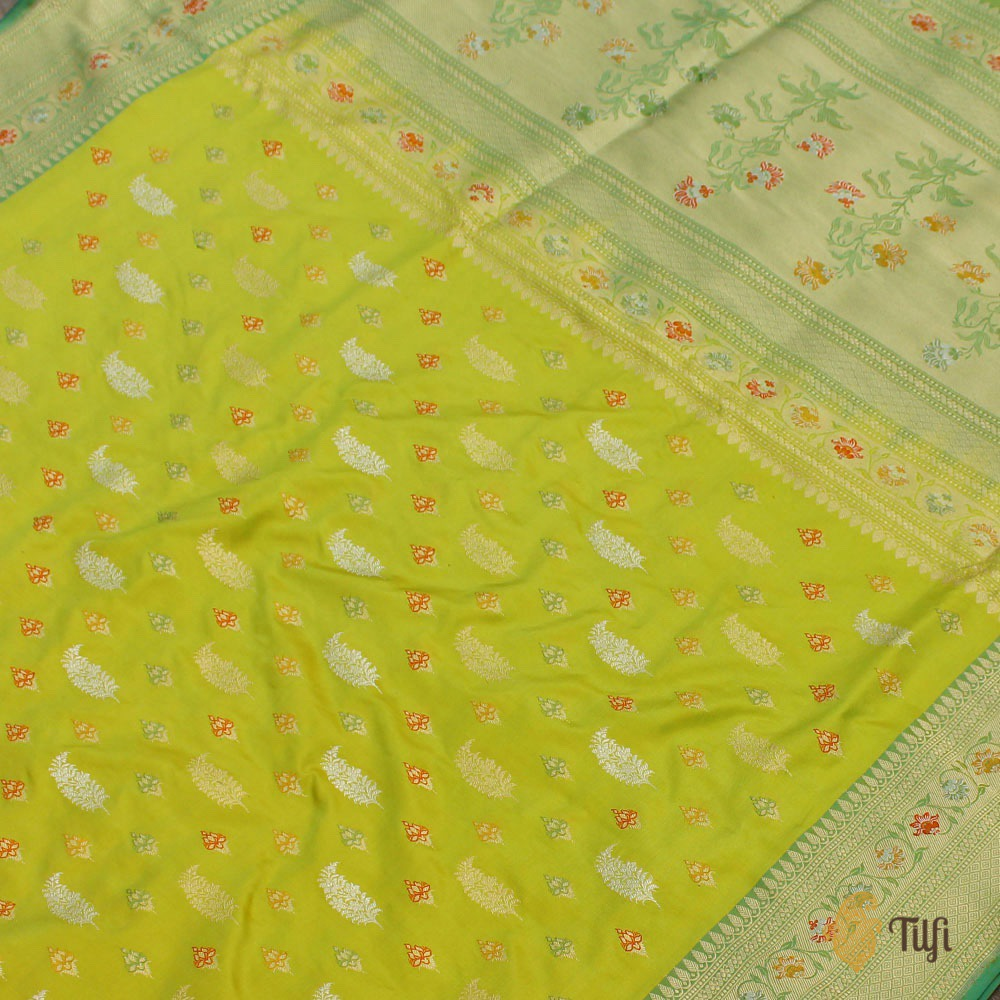 Green Yellow Pure Katan Silk Banarasi Handloom Saree