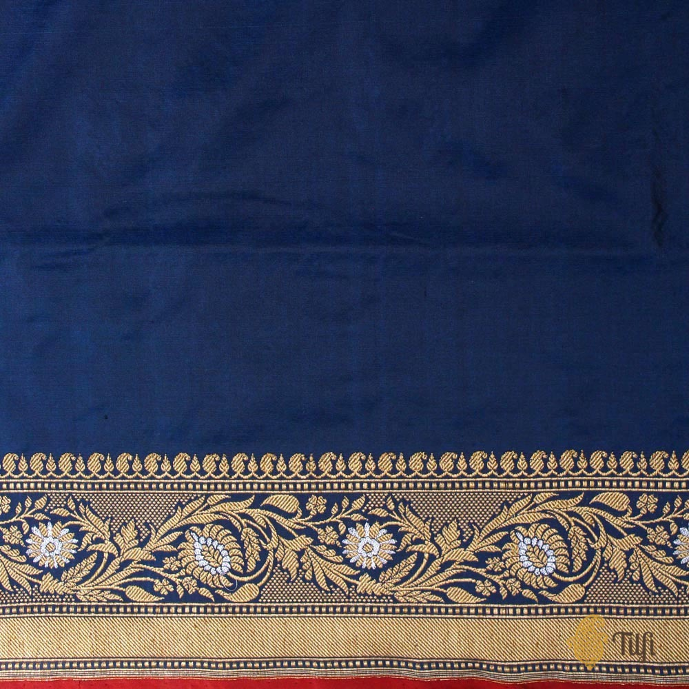 Prussian Blue Pure Katan Silk Banarasi Handloom Saree