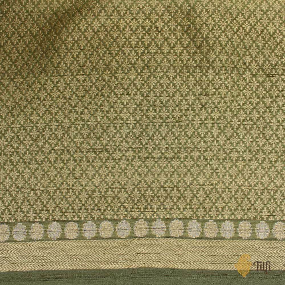 Sage Green Pure Tussar Silk Banarasi Handloom Saree
