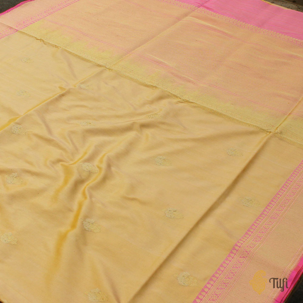 Yellow-Cream Pure Katan Silk Banarasi Handloom Saree