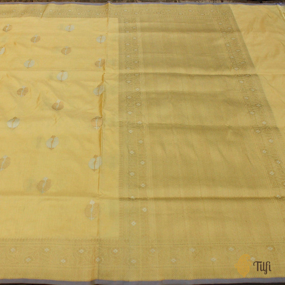 Pastel Yellow Pure Katan Silk Handloom Banarasi Saree