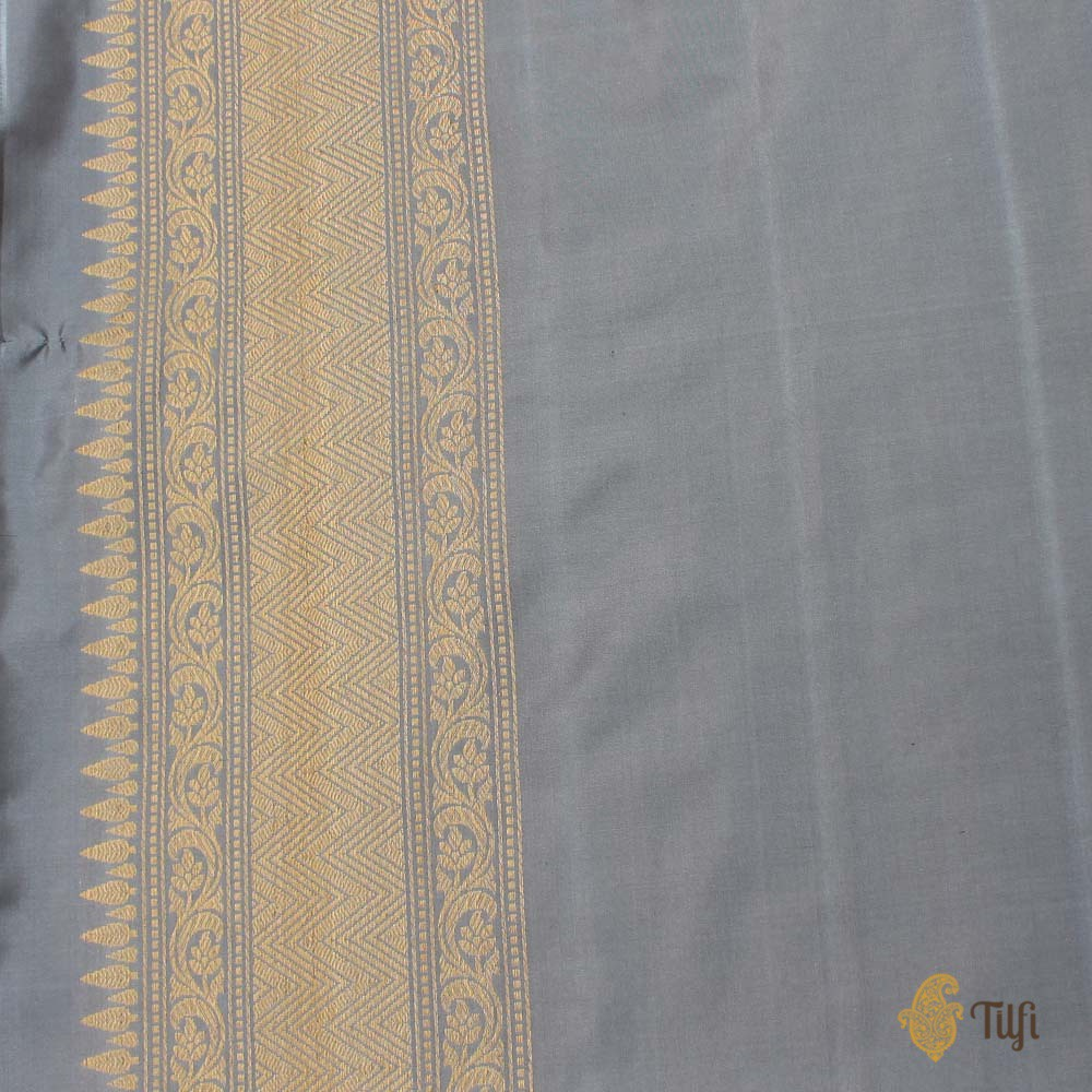 Blue-Gray Pure Katan Silk Banarasi Handloom Saree