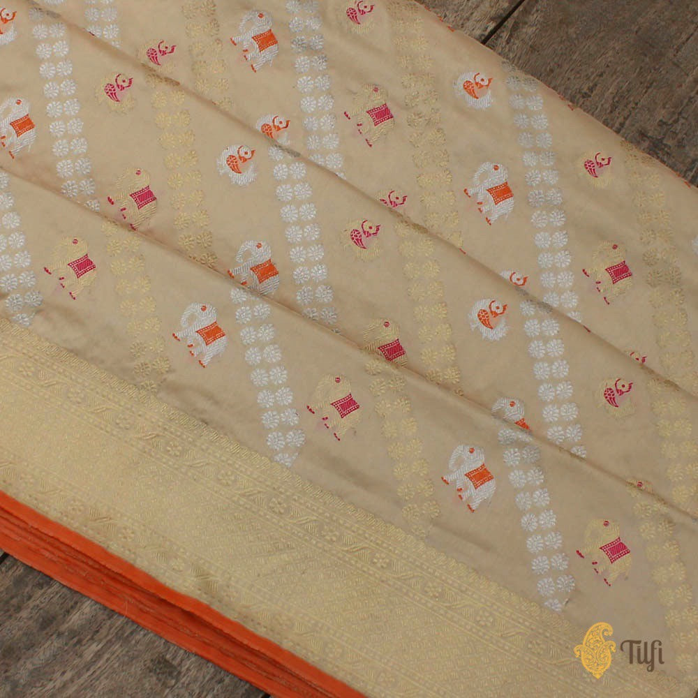 Light Beige Pure Katan Silk Banarasi Handloom Saree