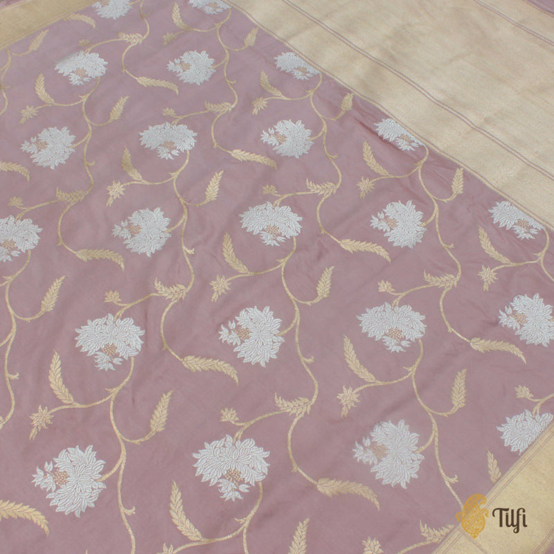 Rosy Brown Pure Katan Silk Banarasi Handloom Saree