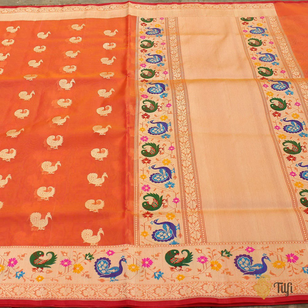 Orange-Rani Pink Pure Kora Silk Banarasi Paithani Handloom Saree
