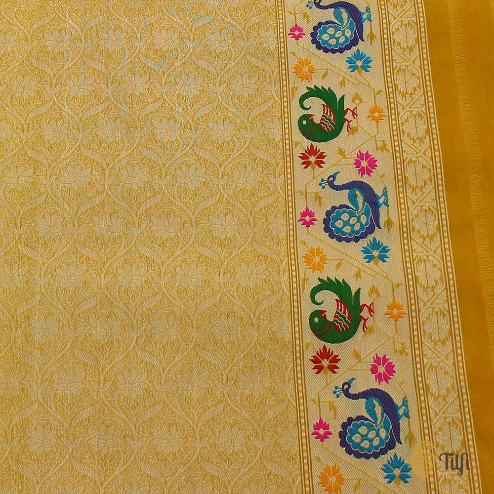 Yellow Pure Kora Silk Banarasi Paithani Handloom Saree