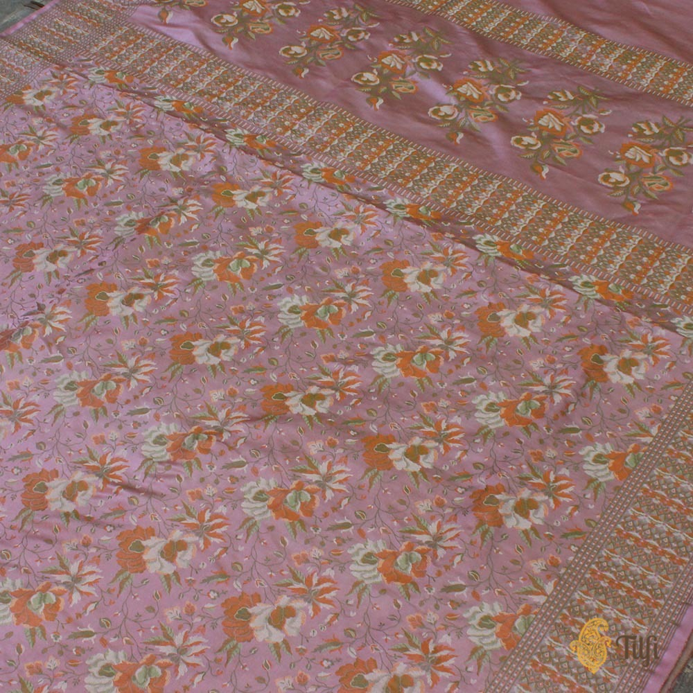 Mauve Pink Pure Soft Satin Silk Banarasi Handloom Saree