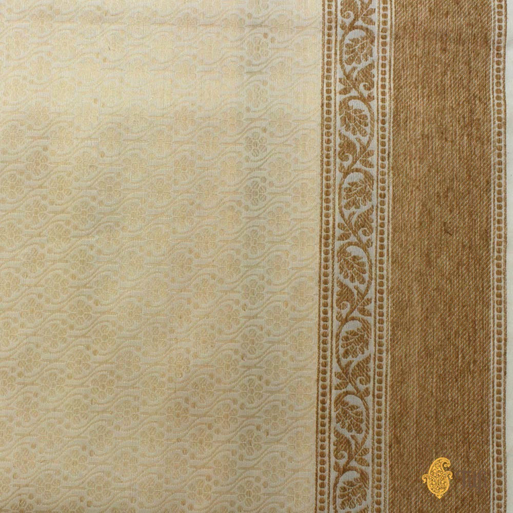 White-Yellow Pure Katan Silk Handwoven Banarasi Saree