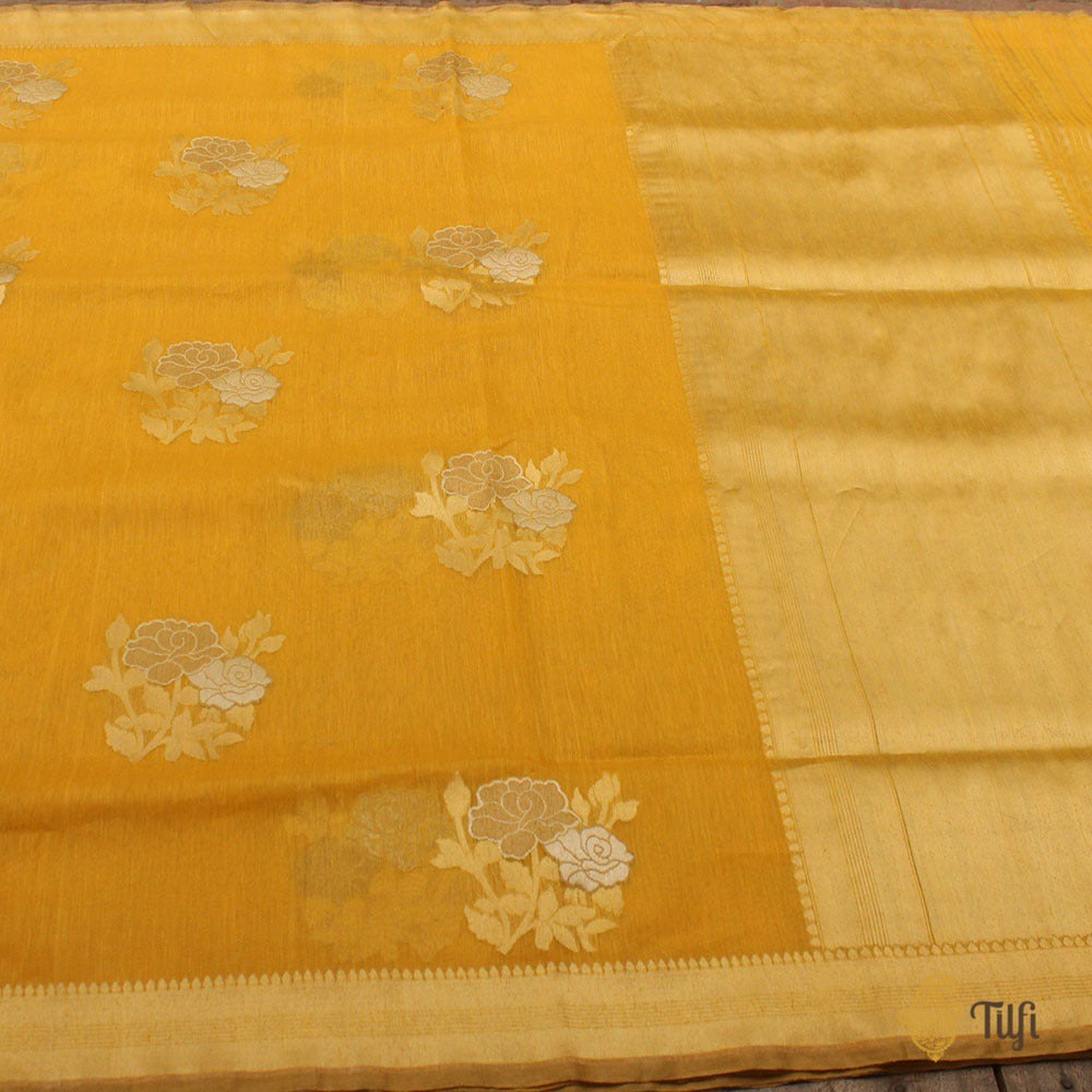 Yellow Pure Kora Linen Banarasi Handloom Saree