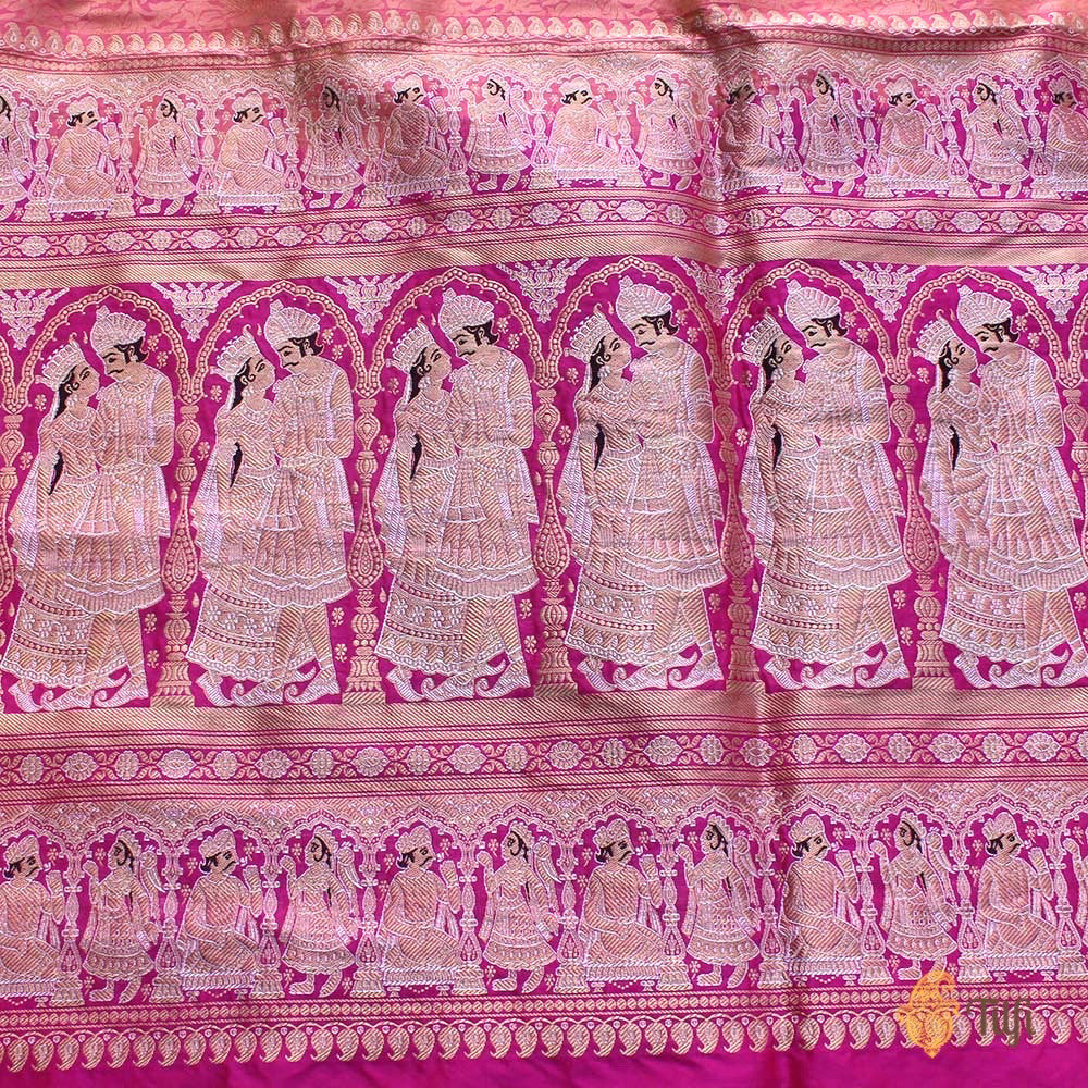 Light Orange-Indian Pink Pure Katan Silk Banarasi Handloom Saree
