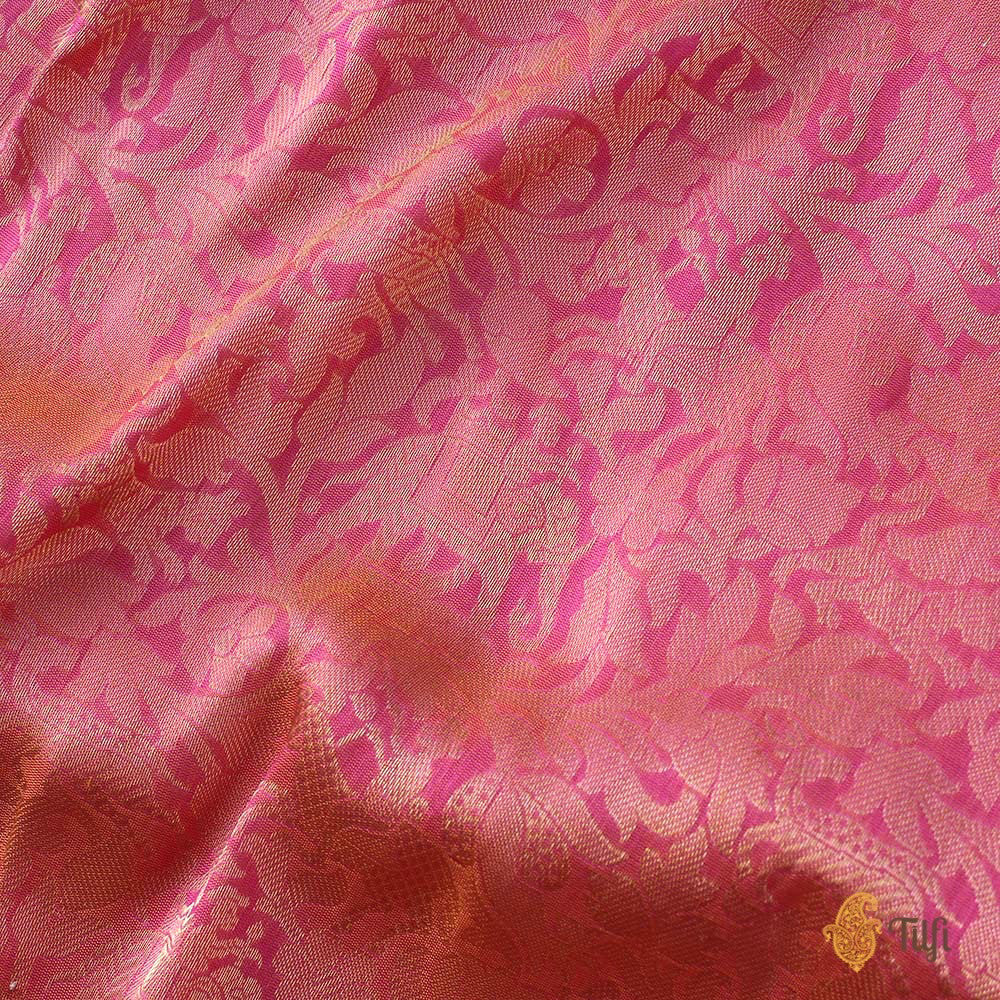 Pre-Order: Light Orange-Indian Pink Pure Katan Silk Banarasi Handloom Saree