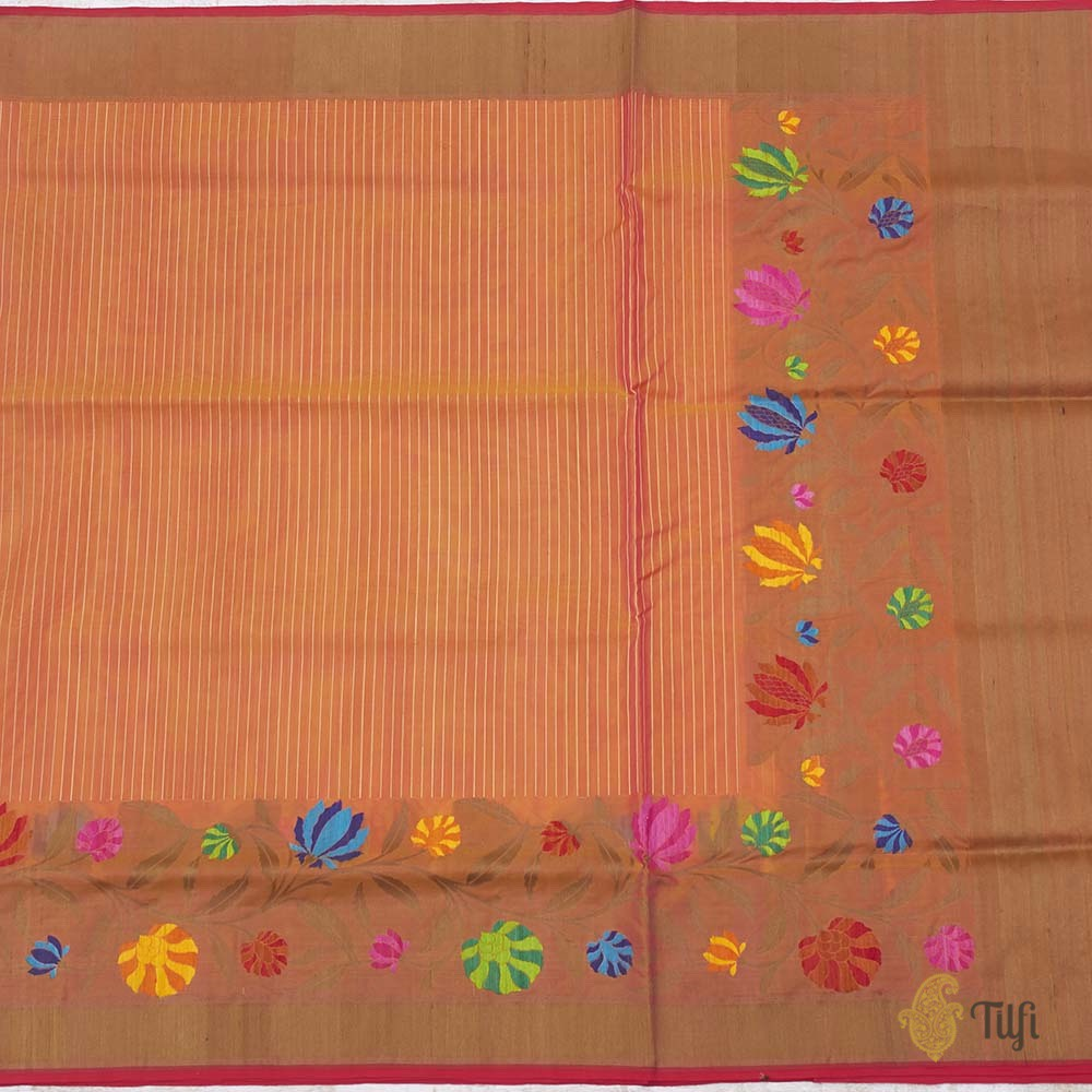 Yellow-Pink Pure Kora Silk Handwoven Banarasi Saree