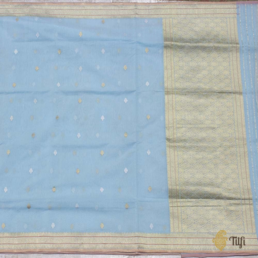 Light Blue Pure Kora Silk by Cotton Banarasi Handloom Saree