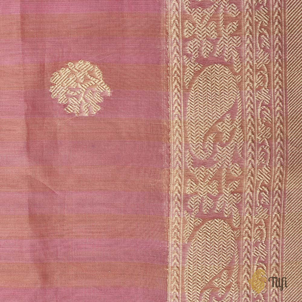 Pink Pure Kora Silk by Cotton Banarasi Handloom Saree