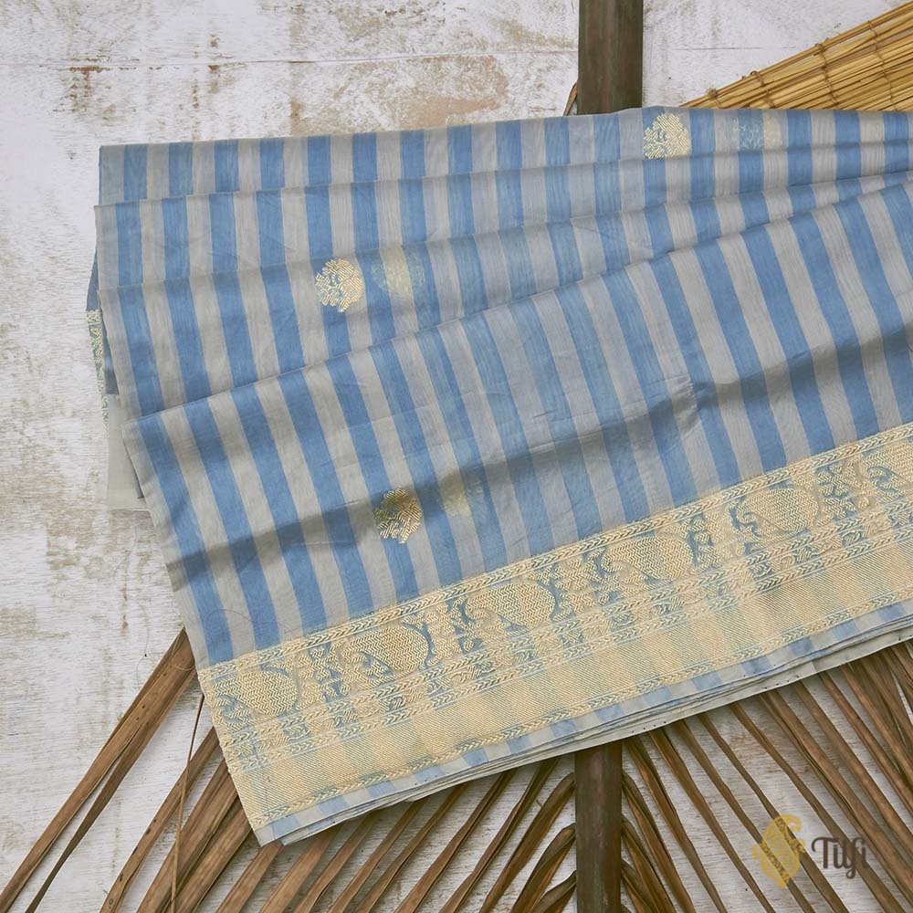 Gray-Blue Pure Kora Silk by Cotton Banarasi Handloom Saree