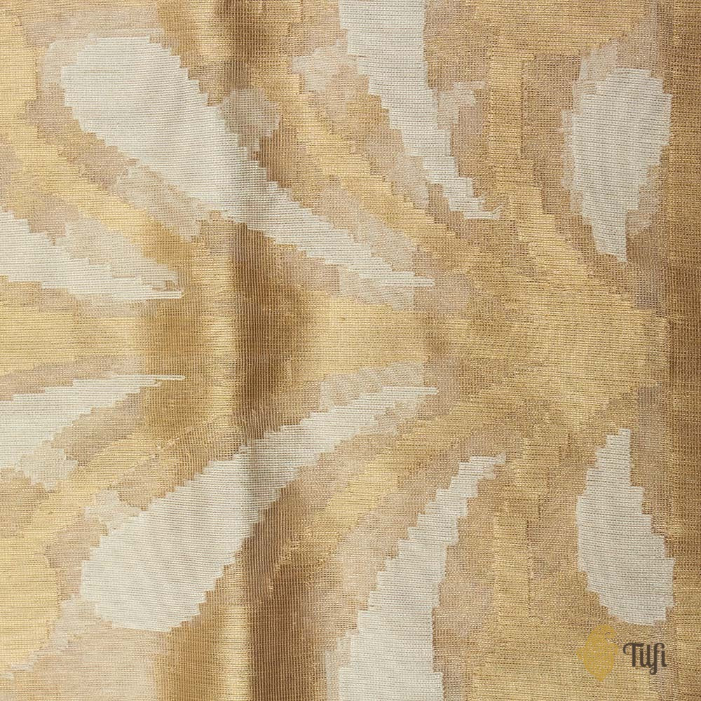 Gold Pure Kora Tissue Net Banarasi Handloom Saree