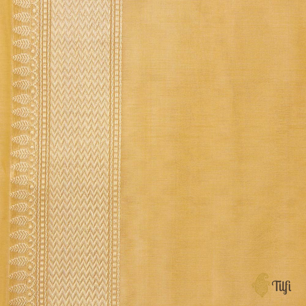 Light Yellow Pure Kora Silk Banarasi Handloom Saree