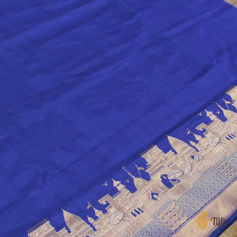 Pre-Order: Royal Blue Katan Silk Banarasi Handloom Saree