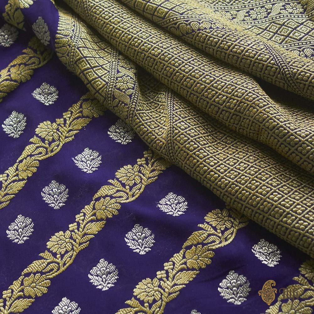 Royal Blue Pure Khaddi Georgette Banarasi Handloom Saree