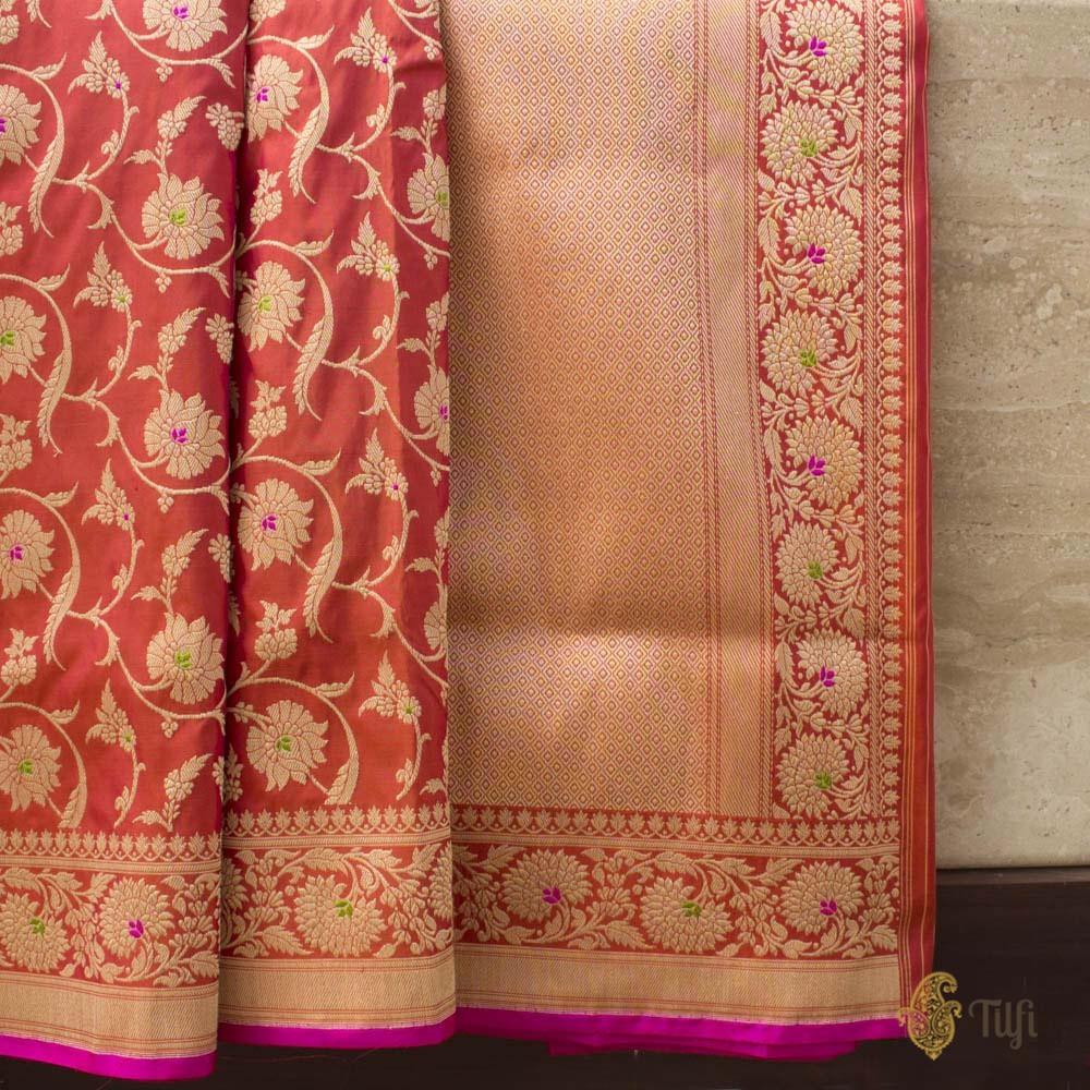 Red-Orange Pure Katan Silk Banarasi Handloom Saree