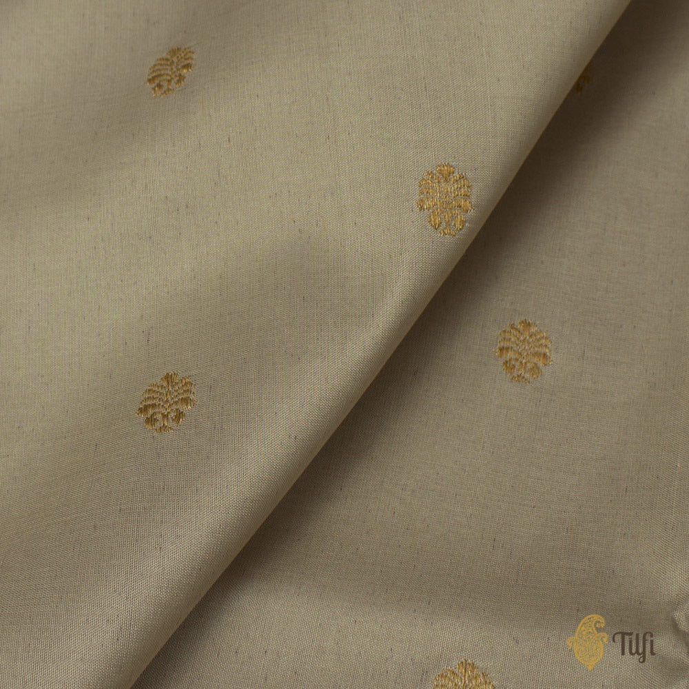 Light Gray Pure Katan Silk Banarasi Handloom Saree