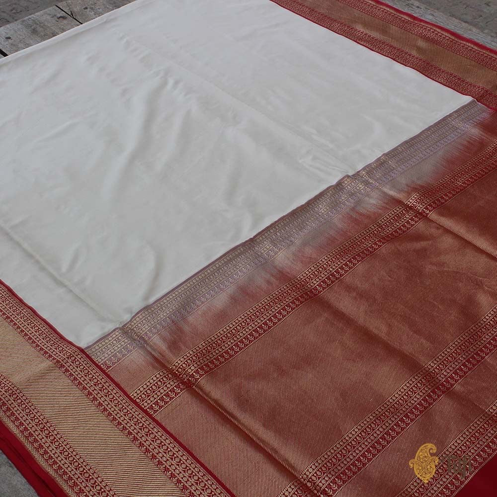 Off-White Pure Katan Silk Banarasi Kadiyal Handloom Saree