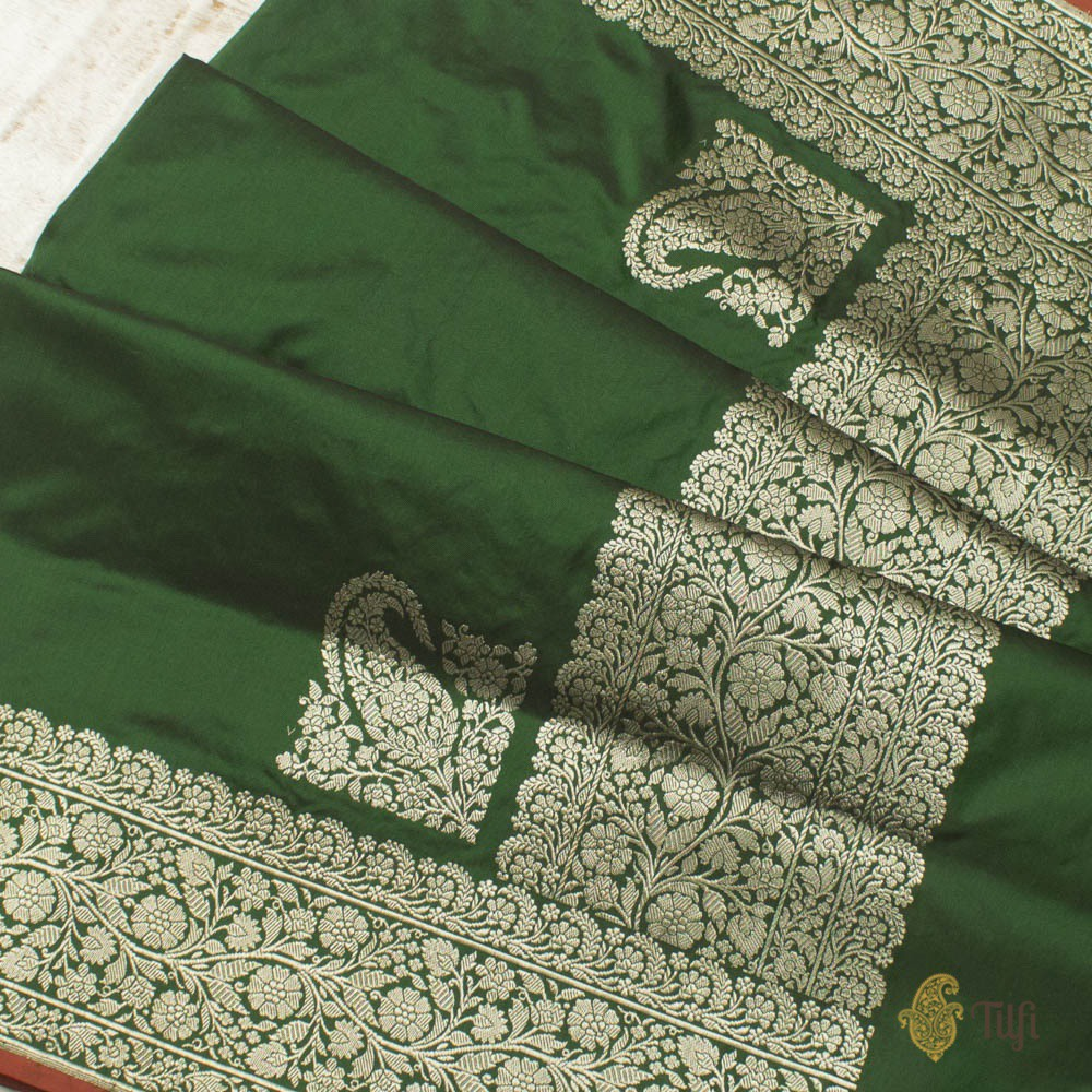 Bottle Green Pure Katan Silk Banarasi Handloom Saree