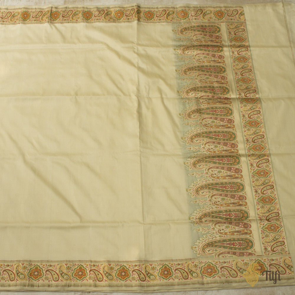 Off-White Pure Katan Silk Jamawar Banarasi Handloom Saree