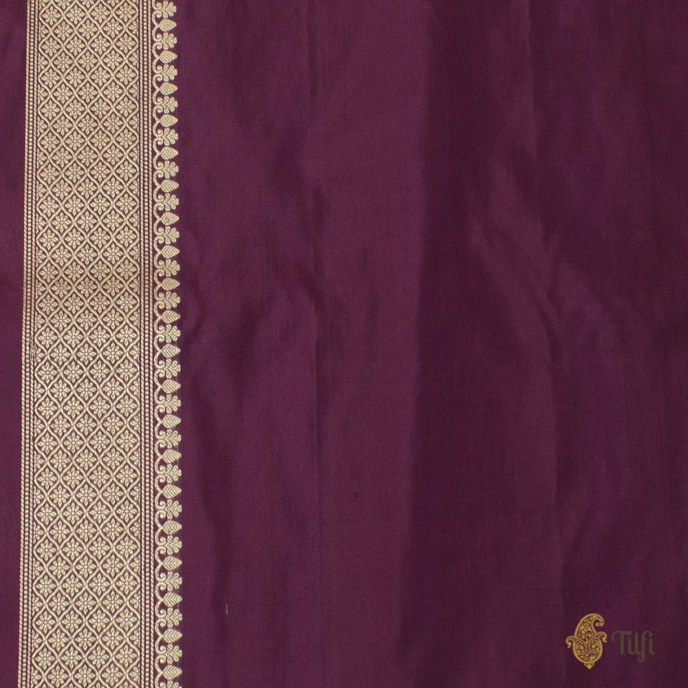 Wine Pure Katan Silk Handloom Banarasi Saree