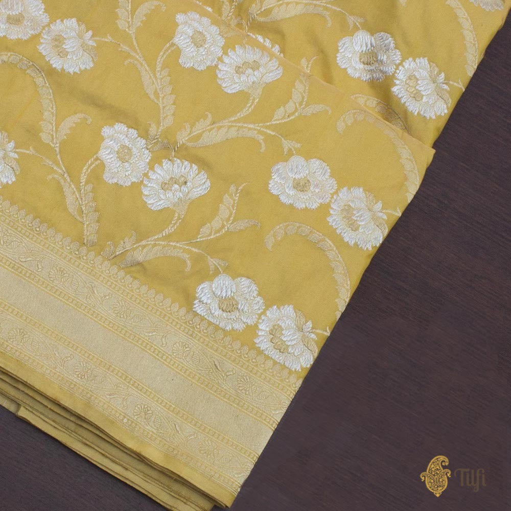 Off-White-Yellow Pure Katan Silk Banarasi Handloom Saree