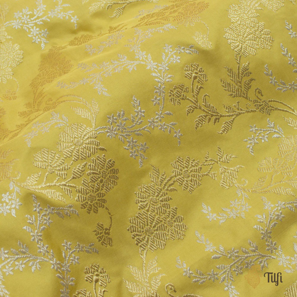 Yellow Pure Katan Silk Banarasi Handloom Saree