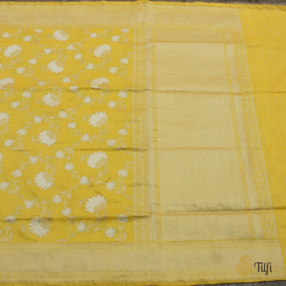 Pre-Order: Yellow Pure Katan Silk Banarasi Handloom Saree