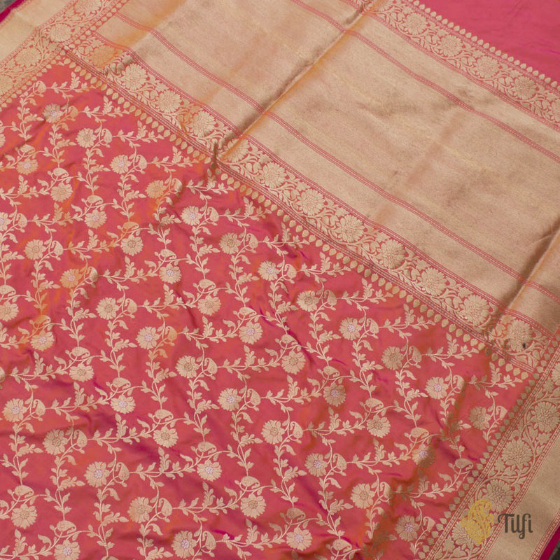 Orange-Gulaabi Pink Pure Katan Silk Banarasi Handloom Saree