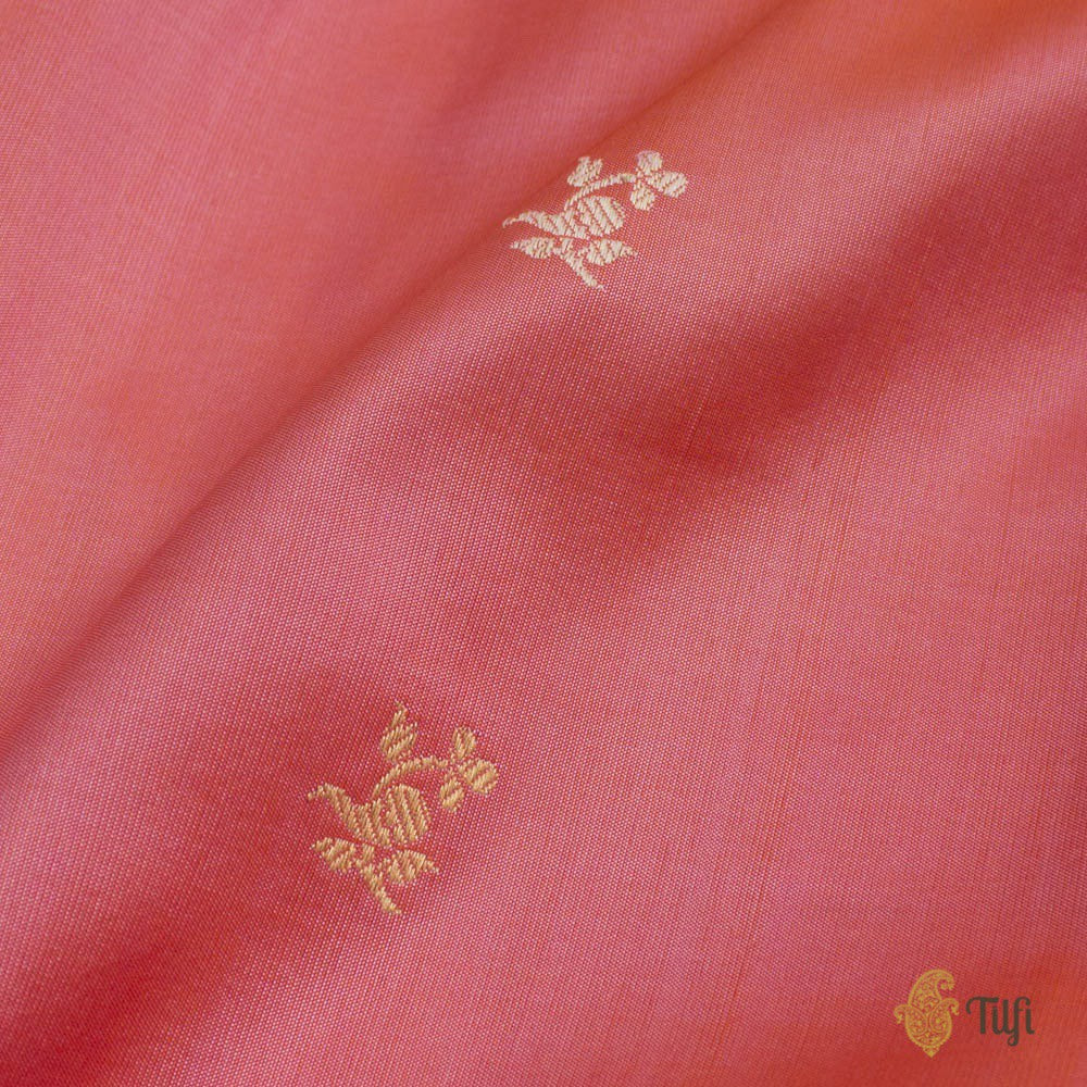 Orange-Peach Pure Katan Silk Banarasi Handloom Saree