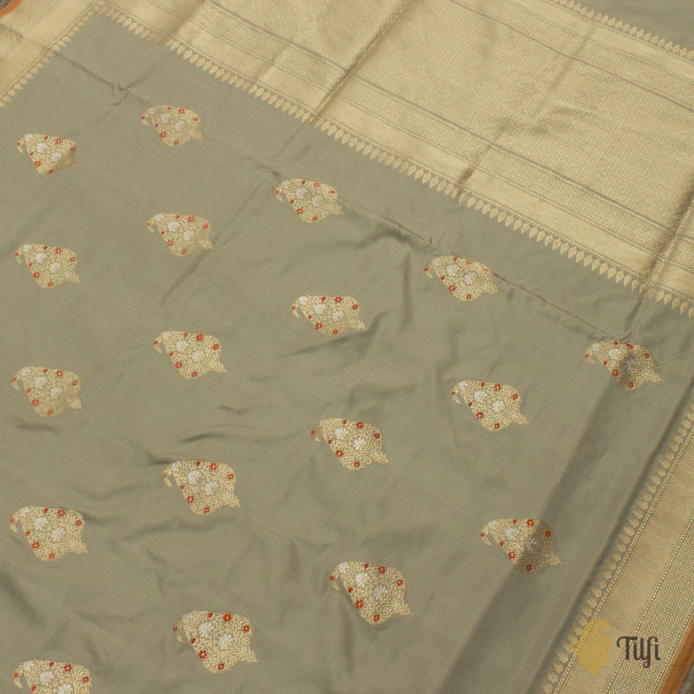 Taupe Grey Pure Katan Silk Banarasi Handloom Saree