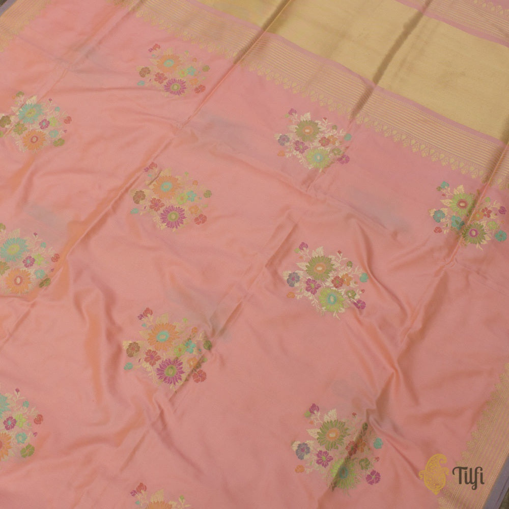 Light Yellow-Peach Pure Katan Silk Banarasi Handloom Saree