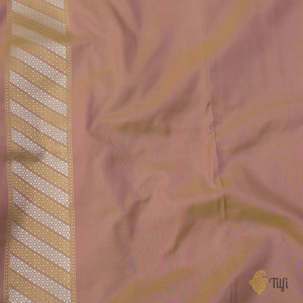 Green-Peach Pure Katan Silk Banarasi Handloom Saree