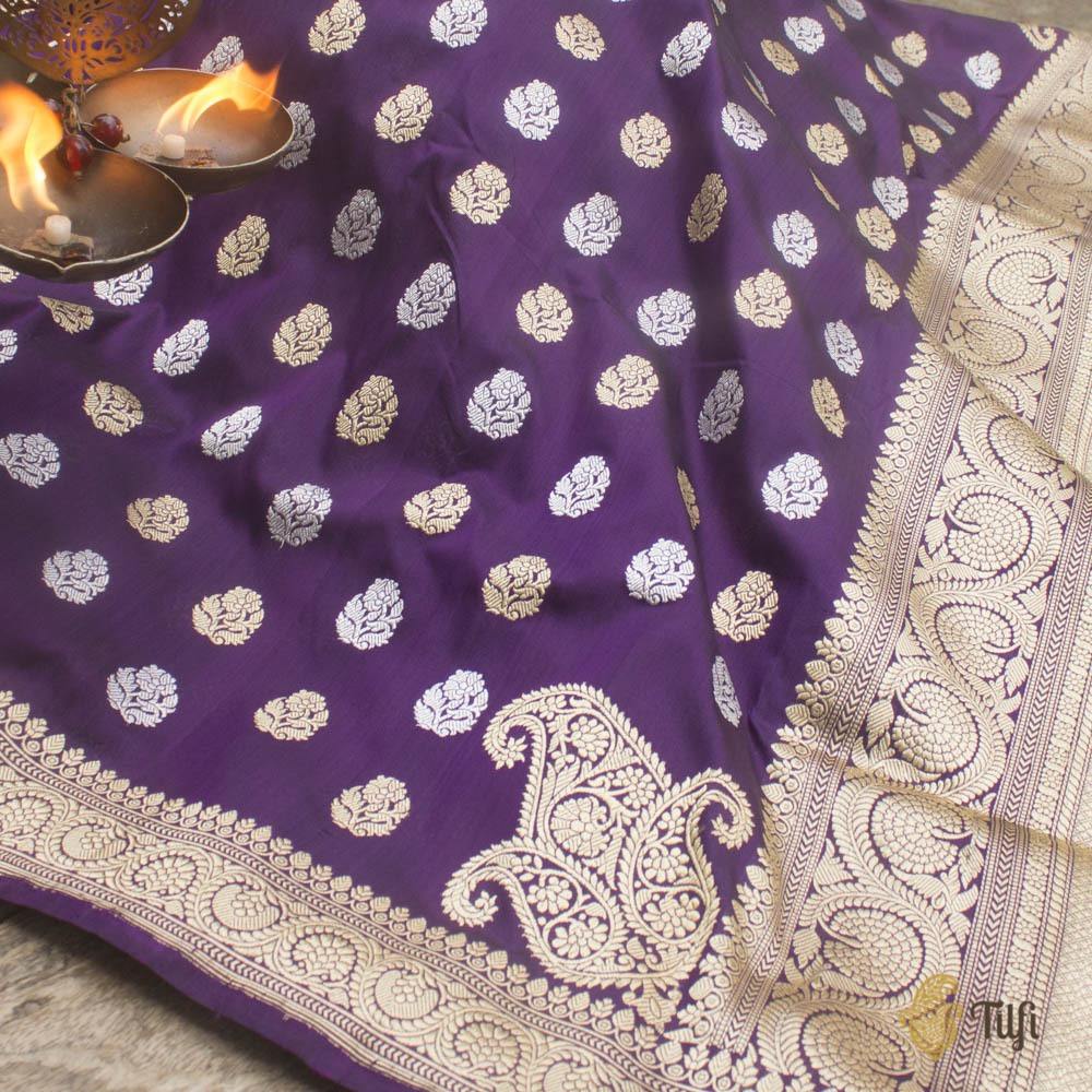 Black-Purple Pure Katan Silk Banarasi Handloom Saree